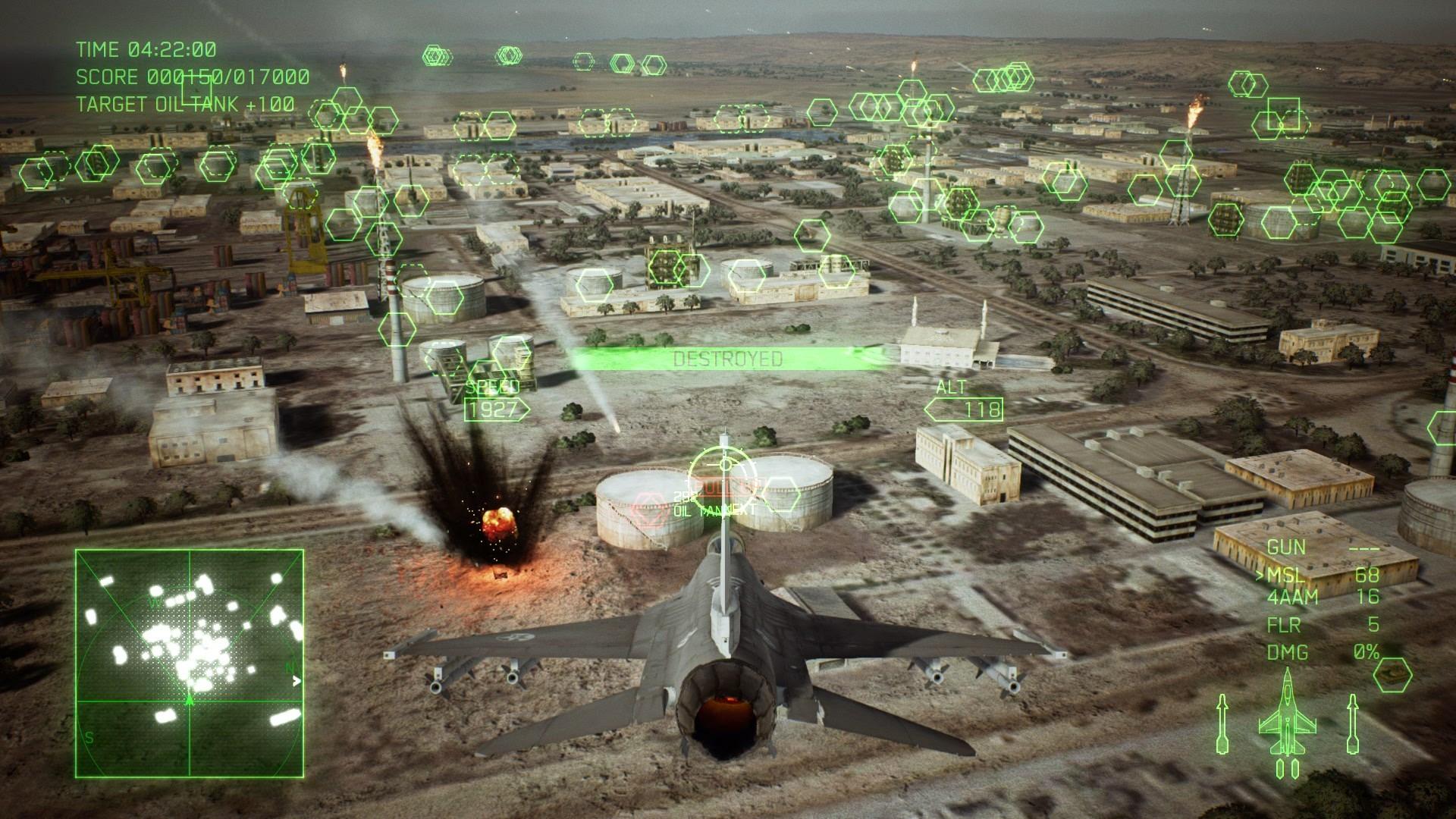 地上の施設を通常ミサイルで攻撃。通常ミサイルでは1つずつ地上の敵を破壊する必要があるが……
