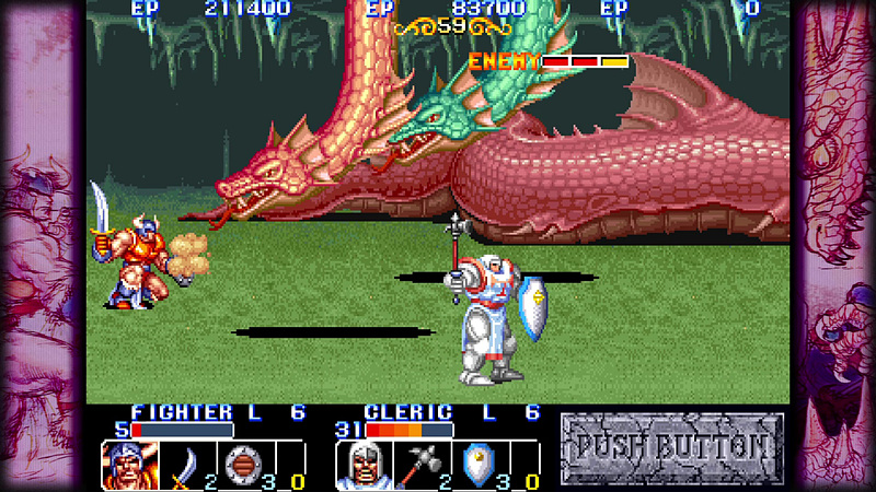 ファンタジーを題材にした「ザ・キングオブドラゴンズ」と「ナイツ オブ ザ ラウンド」。レベルアップの概念もあり、RPGファンならより楽しめるゲーム性となっている