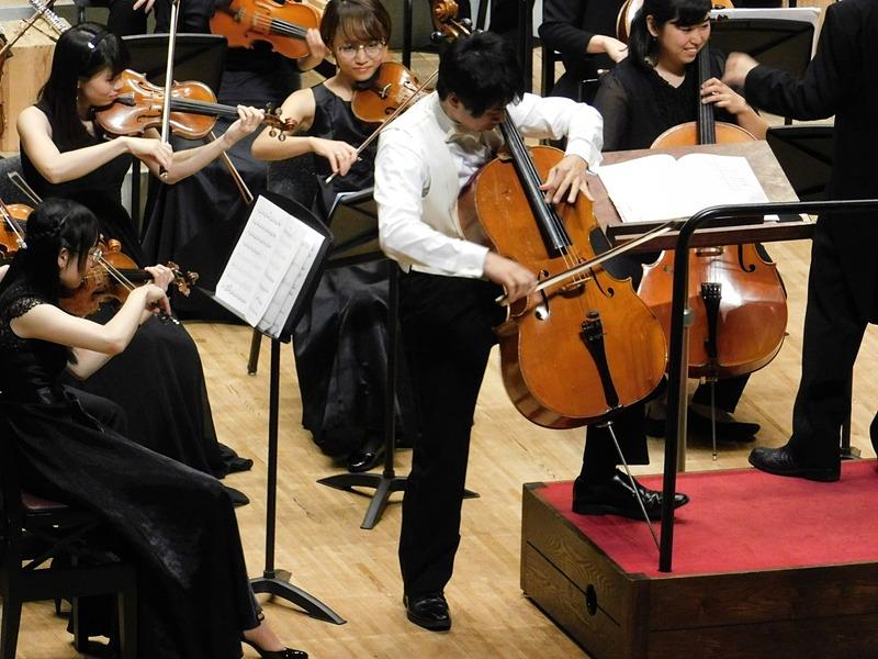 アンコールにて上着を脱ぎ捨ててソロパートを熱演する神野氏。写真左はコンサートマスター小林氏。