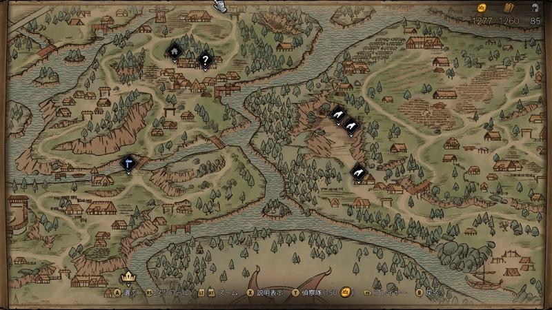 地図にはアイコンでさまざまな情報が示されている