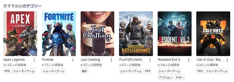 2月12日時点でのTwitchの視聴数はこのように。「Apex Legends」が飛び抜けています