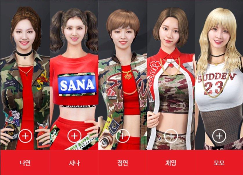 「サドンアタック」に登場したTWICEキャラクター。左からナヨン、サナ、ジョンヨン、チェヨン、モモ(REDチーム)、ツウィ、ダヒョン、ジヒョ、ミナ(BLUEチーム)