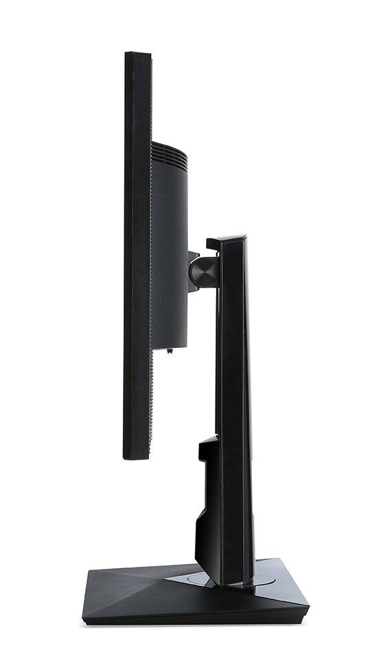 柔軟に高さや角度を調整できるエルゴスタンドを採用。90度回転できるピボット機能をはじめ、最大150mmの幅で調整できる高さ調節機能、上下の角度を変えられるチルト機能などを備えている