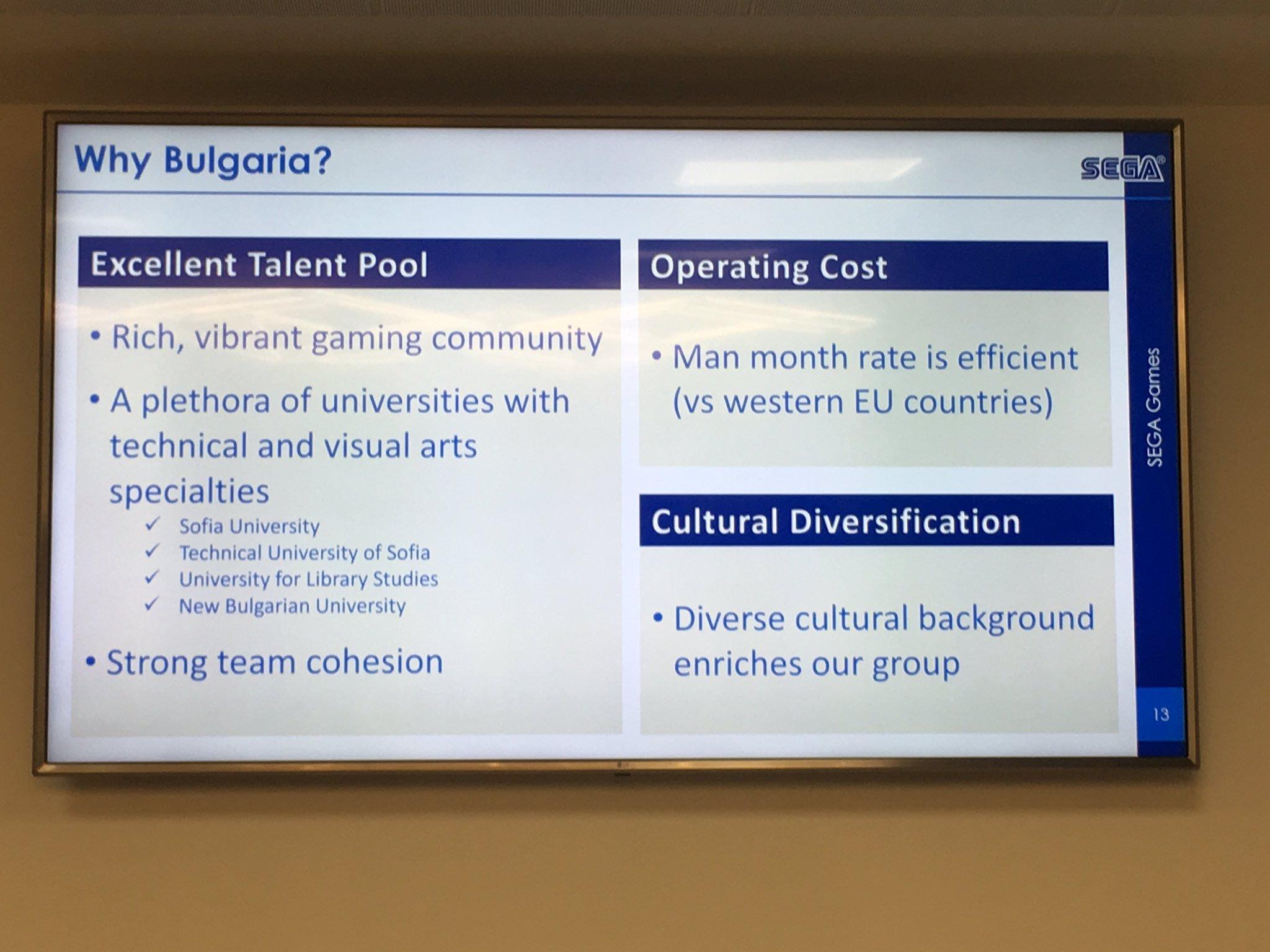 河野外相のTwitterより。ゲーム開発拠点としてのブルガリアの特徴。開発力の高さやコストの安さ、文化的な多様性などが挙げられている
