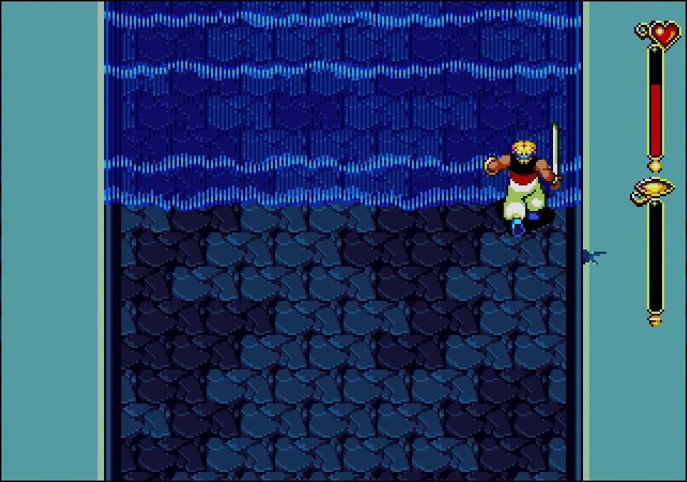 水の精霊の神殿では、一定時間ごとに水流が流れてくるトラップが仕掛けられていた。ここはジャンプをうまく活用することで回避できた