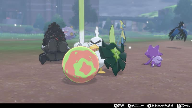 普段は目つきが険しい新ポケモンの「ネギガナイト」も、ボールで遊べばニッコリ!