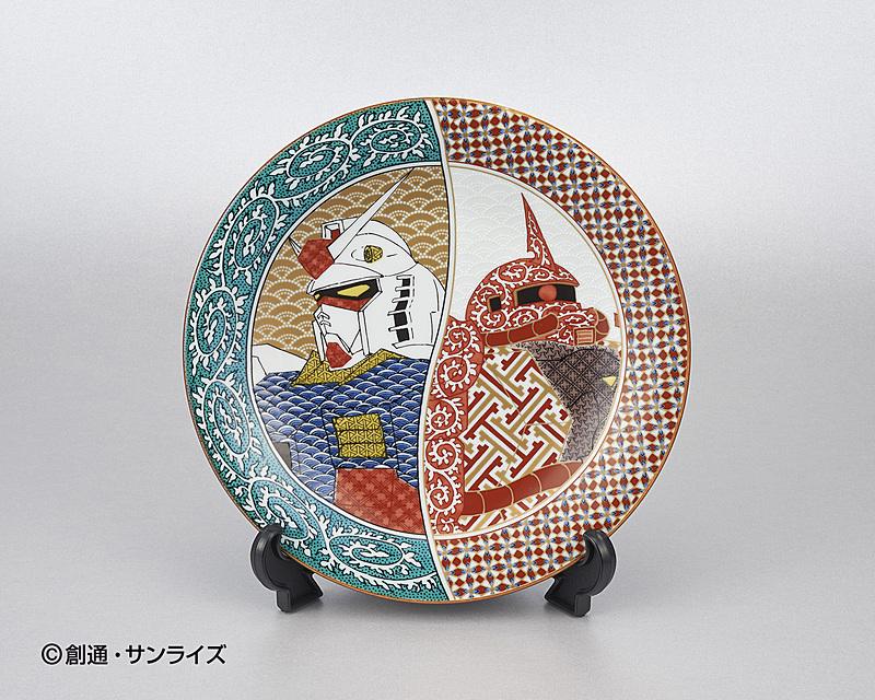 九谷焼 7号皿 ガンダム×シャア専用ザク