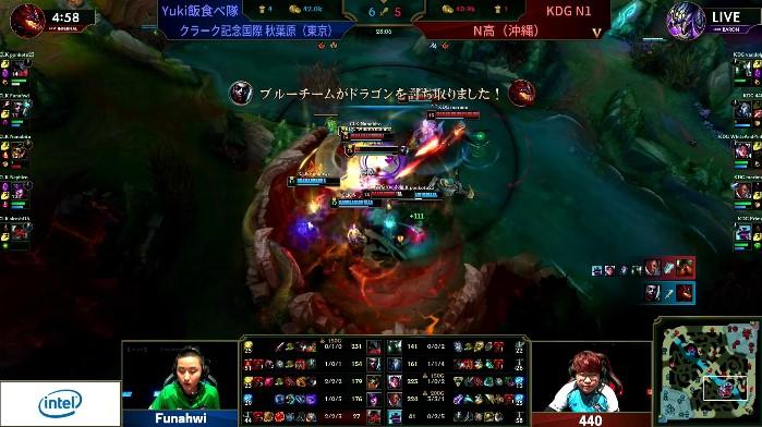 序盤の勢いを生かしてドラゴンを連取する「Yuki飯食べ隊」と、集団戦で追い上げる「KDG N1」