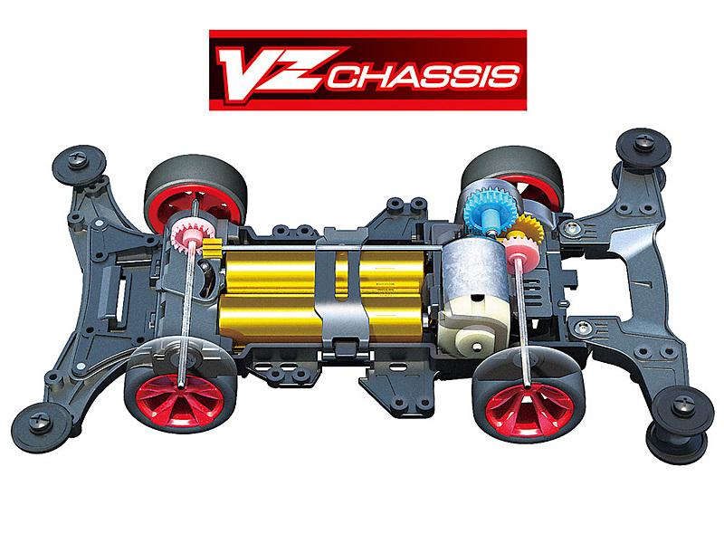 ショートホイールベースによる小回り性能の高さと、セッティングの自由度を広げる分割式バンパーがVZシャーシの特長