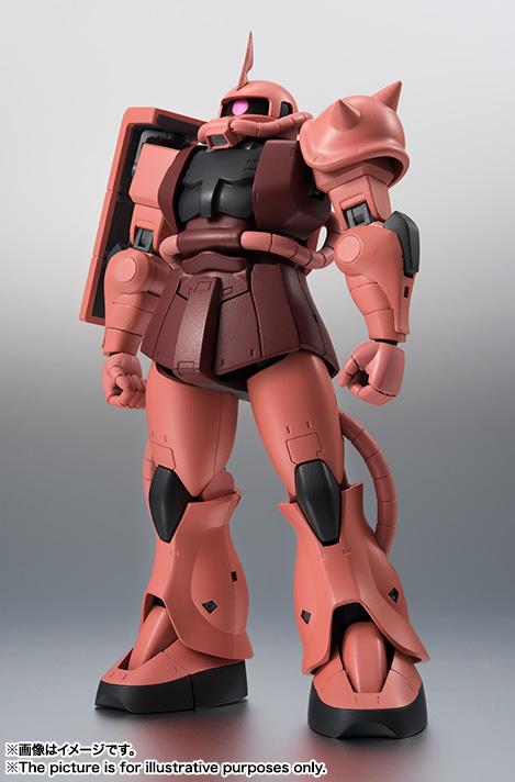 2016年3月に登場した「ROBOT魂 <SIDE MS> MS-06S シャア専用ザク ver. A.N.I.M.E.」。アニメ放映当時の設定画そのままの立ち姿から、最新の関節設計で自由度が高い可動を実現。アニメの名場面を再現できるポーズ付けが可能に