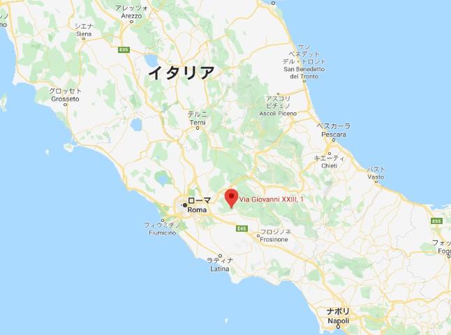 オレーヴァノ・ロマーノはローマの東、大体この辺り