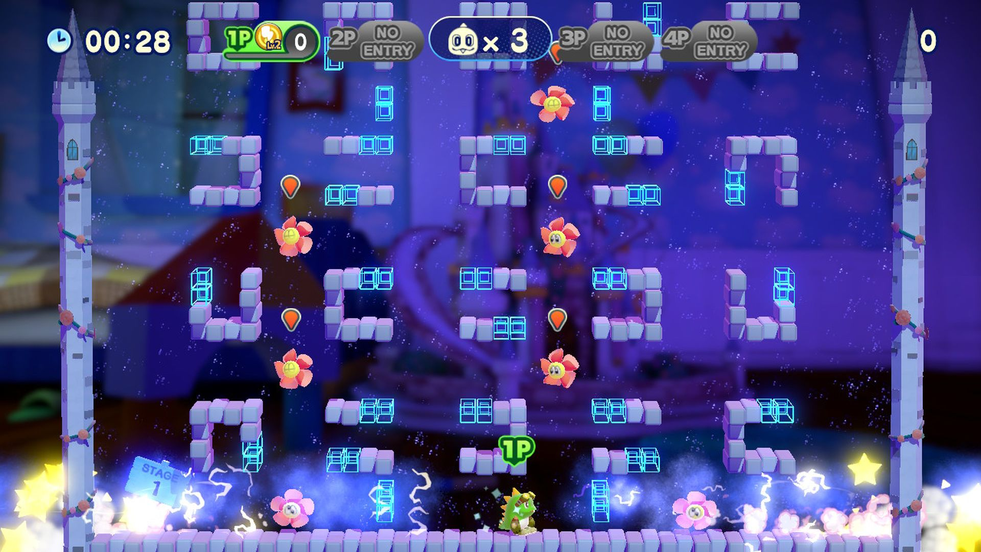 サンダーバブルをセットして使用したところ。L/Rボタンを押すと「とくしゅバブル」をはき、これを割るとサンダーが発生して敵を攻撃することができる