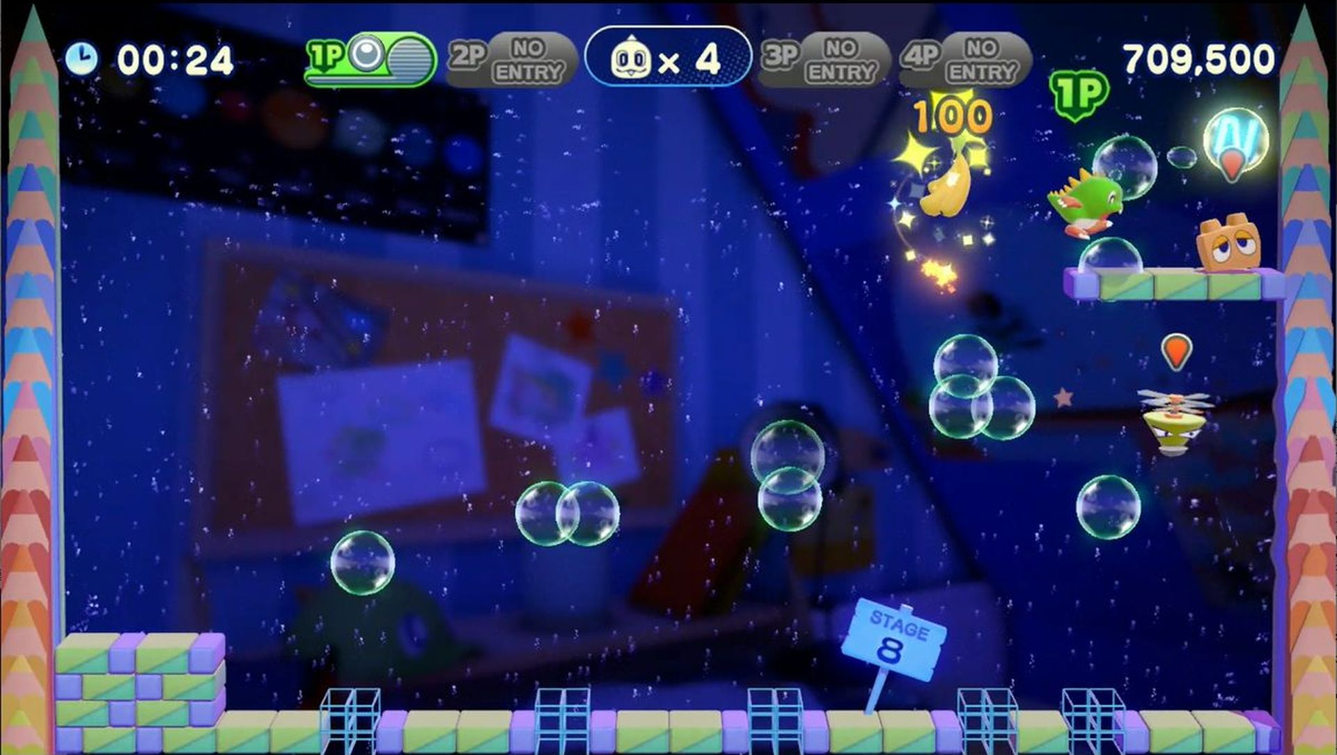 空中に浮いた泡に乗ることで、通常のジャンプでは届かない所にも移動できる