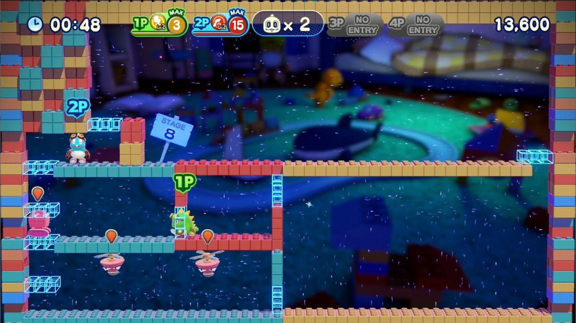 青い半透明の足場は、下からジャンプしたり、横から入れば通り抜けることが可能