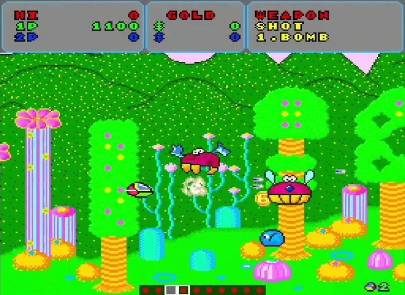 「ファンタジーゾーン」のメイン画面。色使いが若干違うが、画面構成はアーケード版とほぼ同じだ