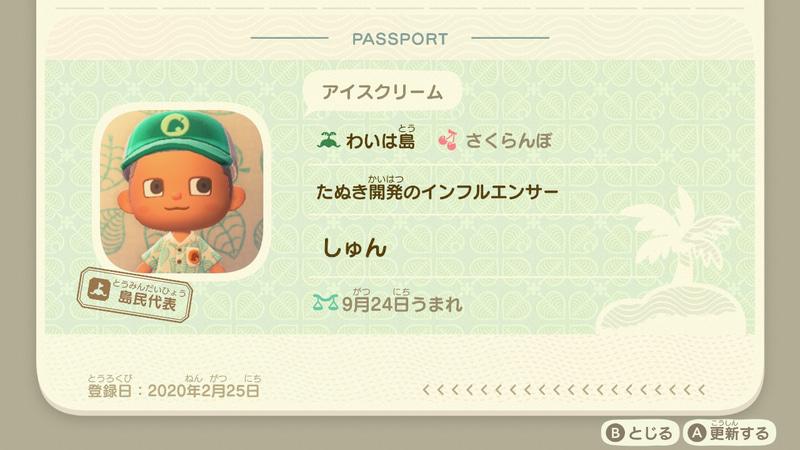 プレーヤーが設定できるパスポート。せっかくなので「たぬき開発の インフルエンサー」として回し者スタイルを決めてみた