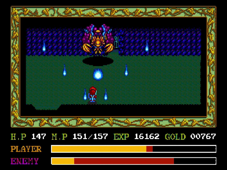 「イースII」でも巨大ボスは健在だ。今回はこちらも魔法が使えるため、戦いをかなり有利に進められる