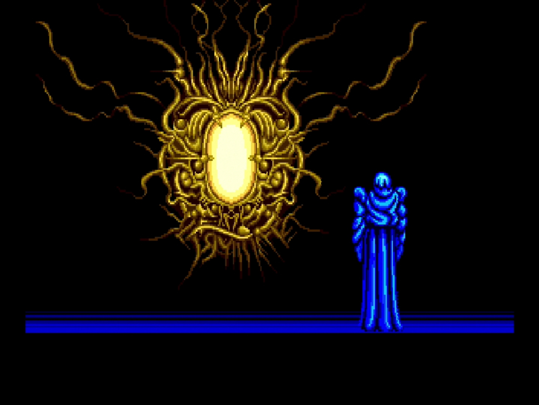 「イースII」のオープニングはこのシーンから始まる。パソコン版では画面下部にテキストで表示されていたキャラのセリフは、全て音声になっている