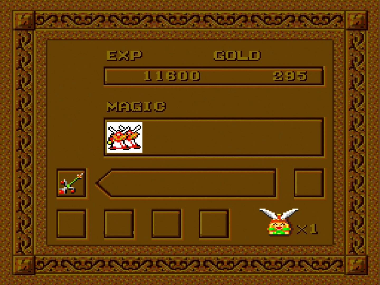 RUNボタンを押すと、ポーズがかかり、現在の残機や取得している魔法が確認できる