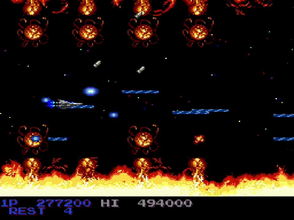 プロミネンスが美しいステージ3は、AC版とはパターンが違うので要注意。途中、炎の爆風がまとめて自機目がけて飛んでくるシーンでは、画面後ろ中央部分から徐々に前方へと移動していけばクリアできる
