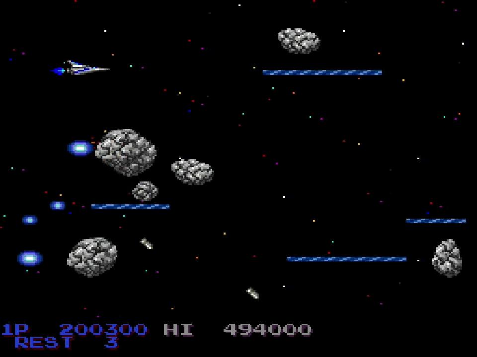 ステージ5の小惑星地帯は、途中に出現するザブIIがAC版ではテンポ良く6回出現なのに対して、3回+2回+1回のタイミングで登場する。その後、ザコが前方から大量に現われて弾を撃ってくる場面は、AC版のように右上にいるのはNG。中央上部で待ち構えて倒しつつ、アドリブで避けていくのがベスト