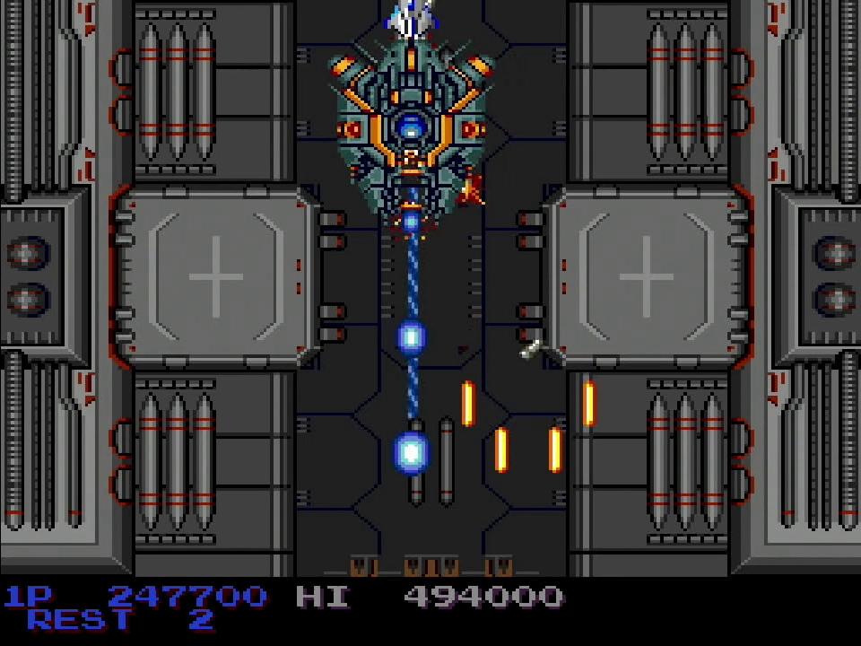 中ボスのビックコアは、自機を画面上部に配置すれば敵の攻撃が当たらない。ステージ後半には、巨大なモアイが出現。身軽にジャンプしながらイオンリングを吐いてくるが、弾数は少ないので簡単に倒せる