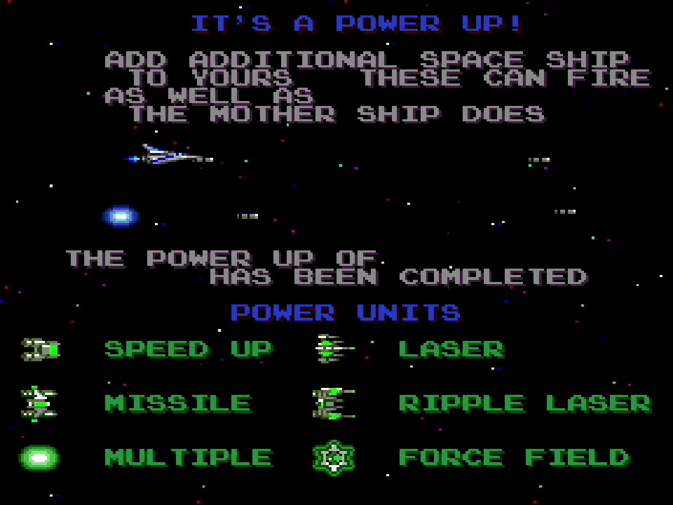 「沙羅曼蛇」は奇数ステージが横スクロールで、偶数ステージが縦スクロールになっているシューティングゲーム。デモシーンでは、敵を倒してパワーアップアイテムを取るとパワーアップします、という説明が行なわれる