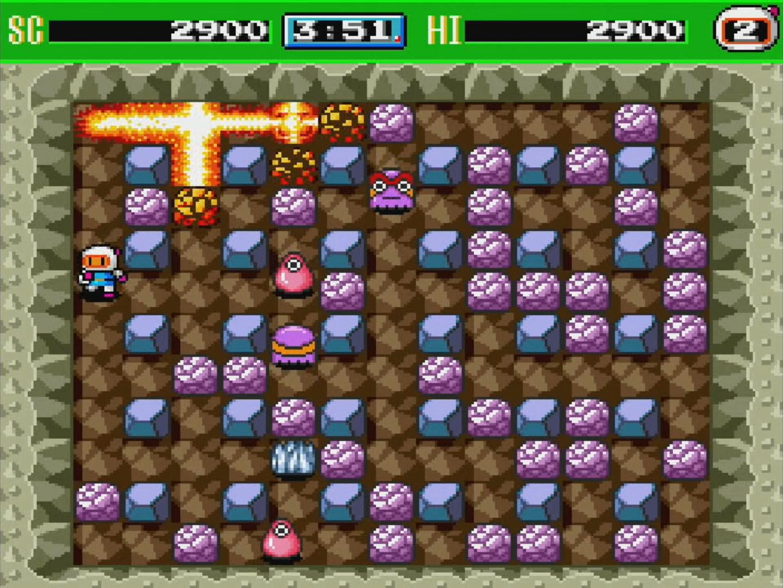 ボムを置いて爆風で敵を倒すアクションゲーム「Bomberman'93」。翌年登場した「ボンバーマン'94」は日本版として収録されている