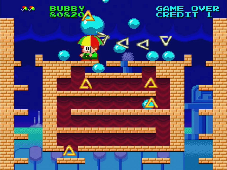 この下には普通には入れないので、水が入ったジャンボボールを作って割ることで、水流を作って敵を倒す