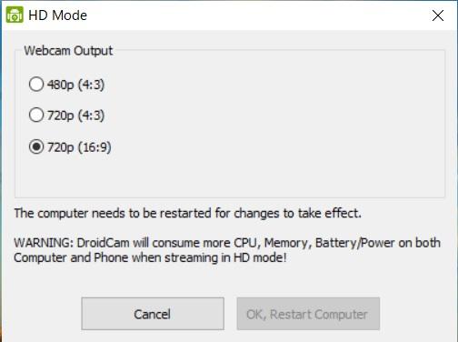PC側で「HD Mode」を起動し、解像度を「720p(16:9)」に変更し、再起動する