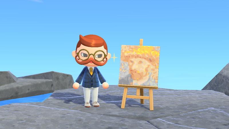 「マイデザイン」→「飾る」→「イーゼル」でこのように飾れる。マイホームなら「キャンバス」を選ぶことで壁に飾れる