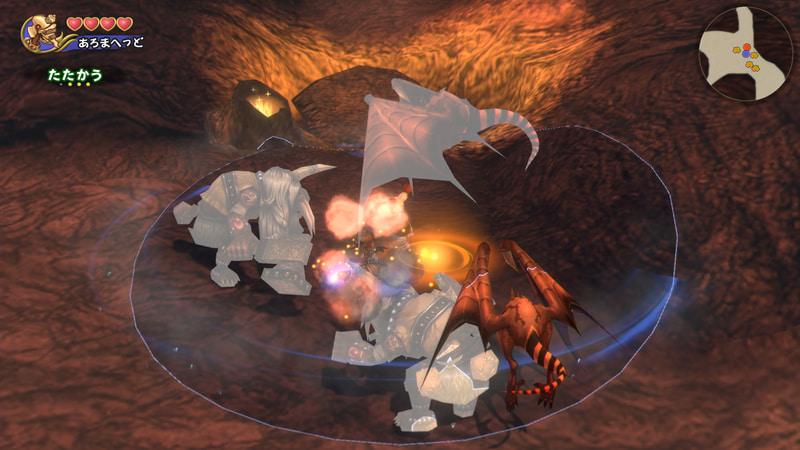 ハンマーを地面に叩きつけ、爆発を起こす。敵を吹き飛ばす効果もある