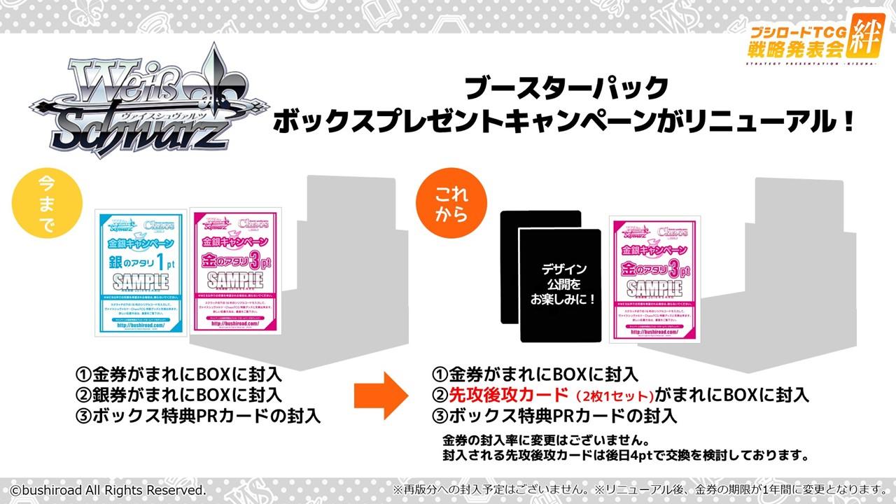ブースターパックボックスプレゼントキャンペーンがリニューアルする。銀券が廃止され、代わりに先行後攻カードが封入される