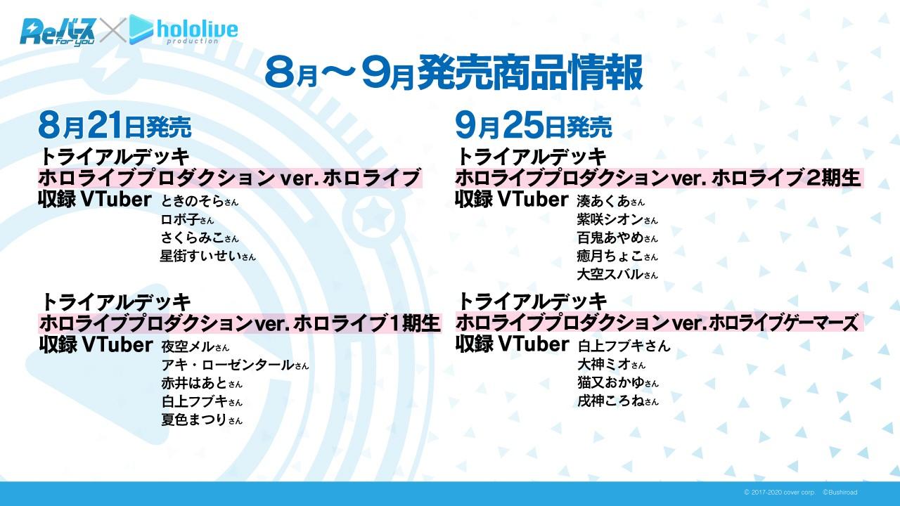 8月から9月にかけて販売されるホロライブプロダクションとのコラボ商品の情報