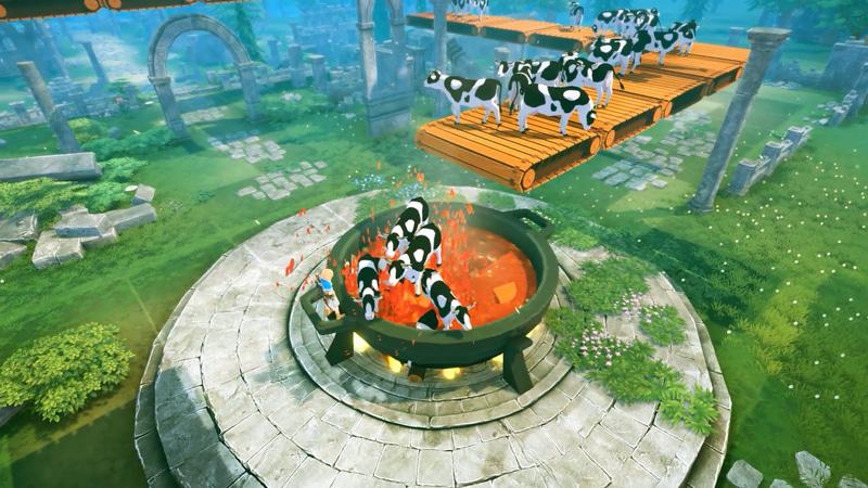 ウシを自動的に鍋で煮込む装置。交配でウシを量産、生まれたウシをベルトコンベアで運んで肉に加工する自動化ラインを構築している