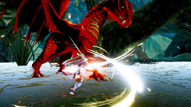 ドラゴンのような巨大生物との戦いも。戦闘はコンボやガード、魔法、状態異常を組み合わせて敵との間合いを考えながら戦略的に立ち回る必要がある