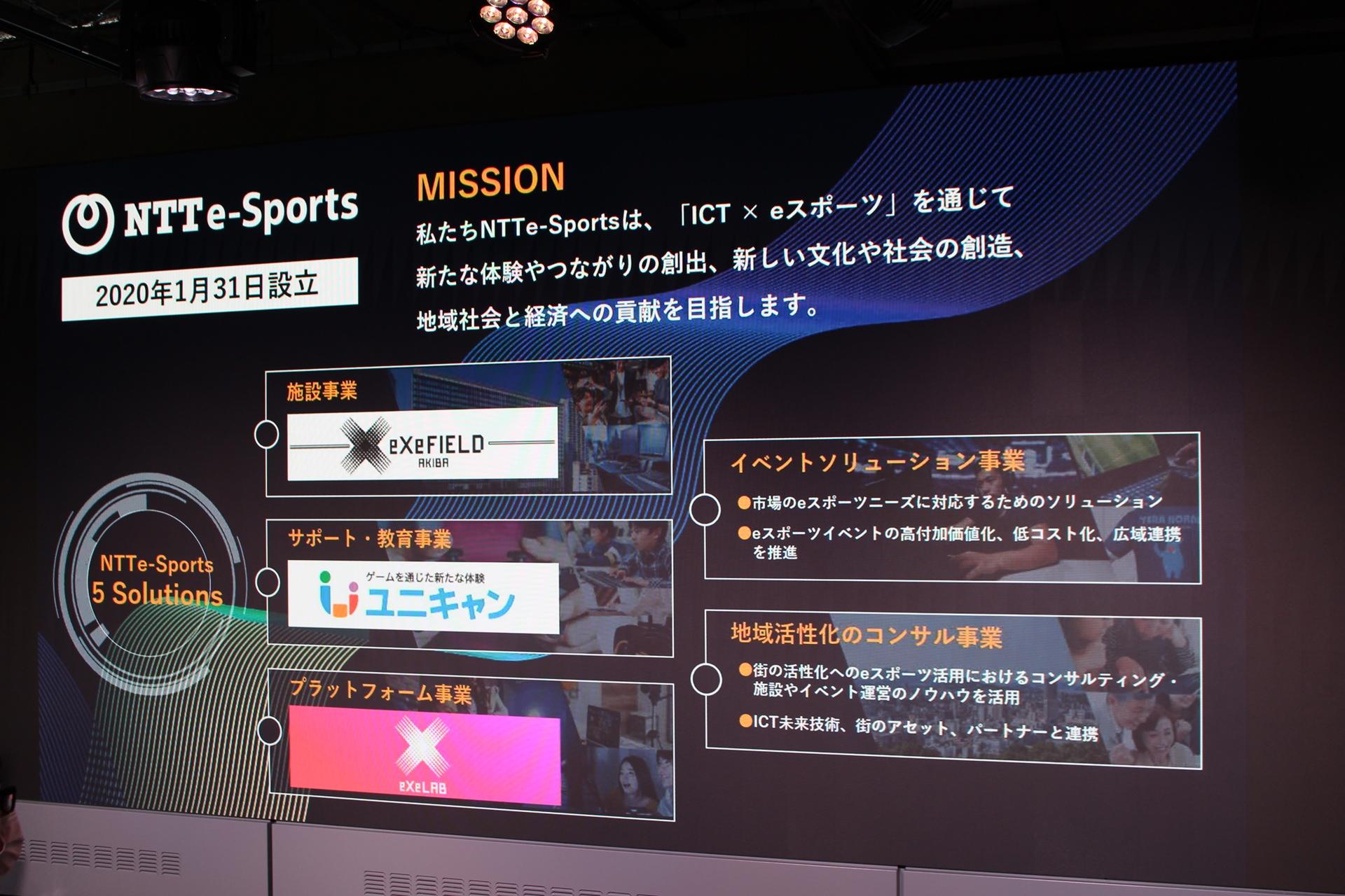 NTTe-Sportsが掲げる5つのミッション。そのひとつの「施設事業」が、この「eXeField Akiba」となる