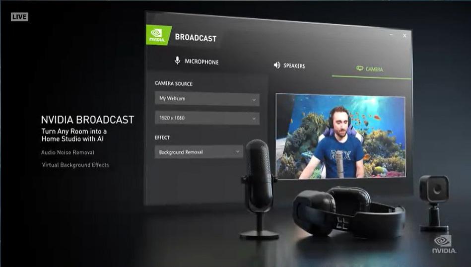 NVIDIA Broadcastは以前のRTX Voiceの発展版で、ノイズ抑制だけでなく背景ぼかしなどの映像処理の機能も追加されている