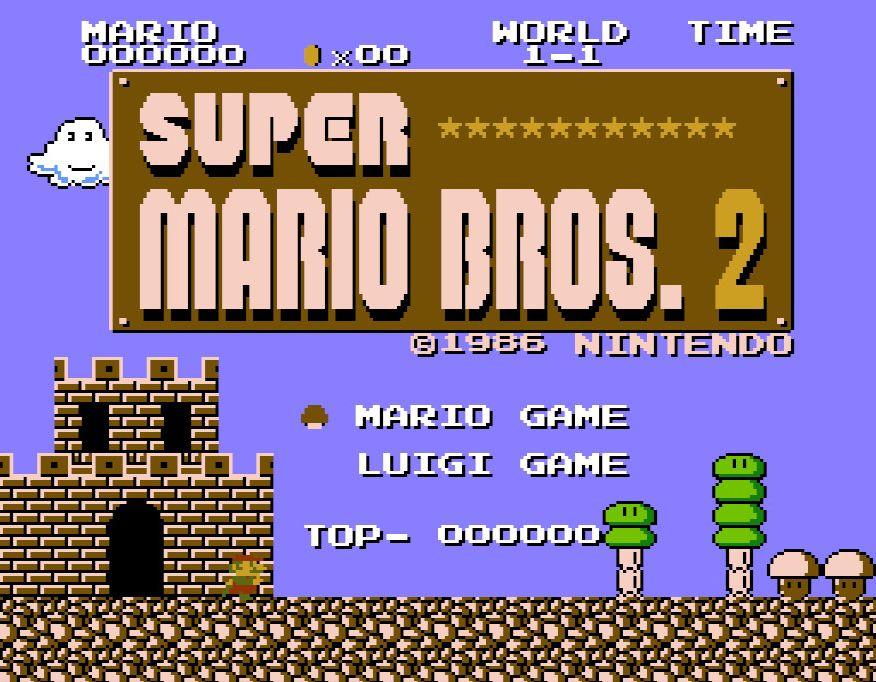 ゲーム開始時にマリオ、ルイージのどちらかを選択し、8-4をクリアした回数分の★マークがタイトル画面に表示されるようになっていた(※写真はNintendo Switch版)
