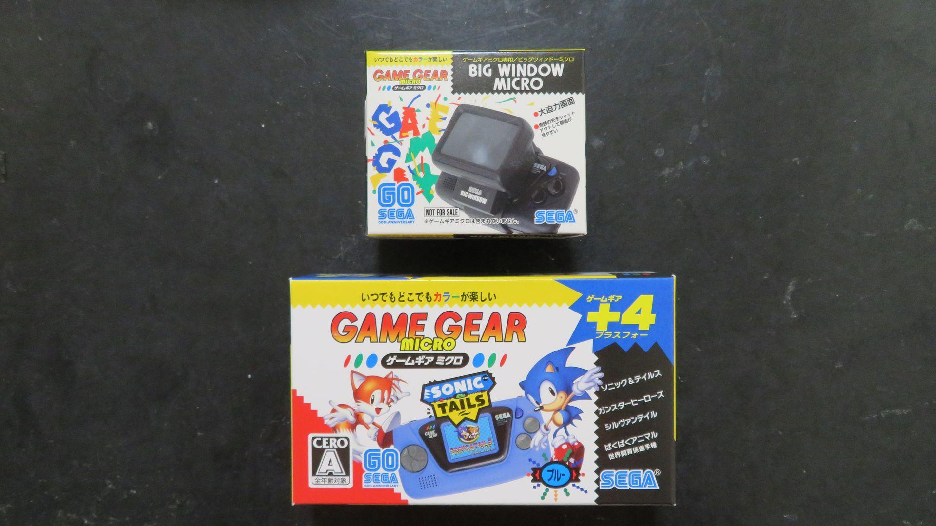 (写真上)ビッグウィンドーミクロとゲームギアミクロ本体(ブルー)のパッケージ
