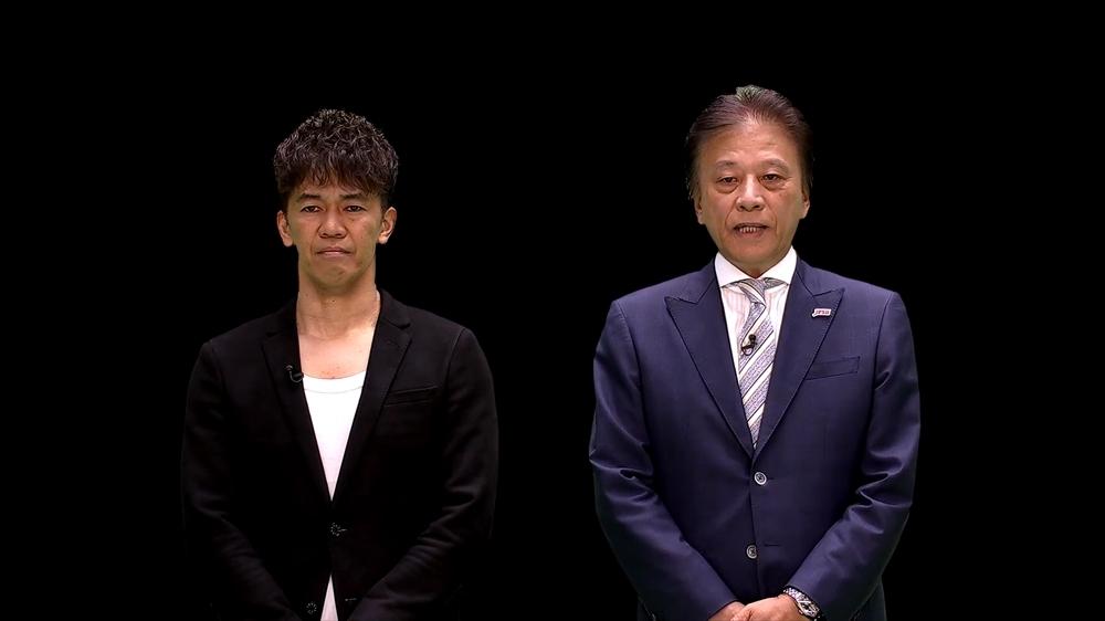 大会アンバサダーを務める武井壮さん(左)とJeSU会長 岡村秀樹氏(右)