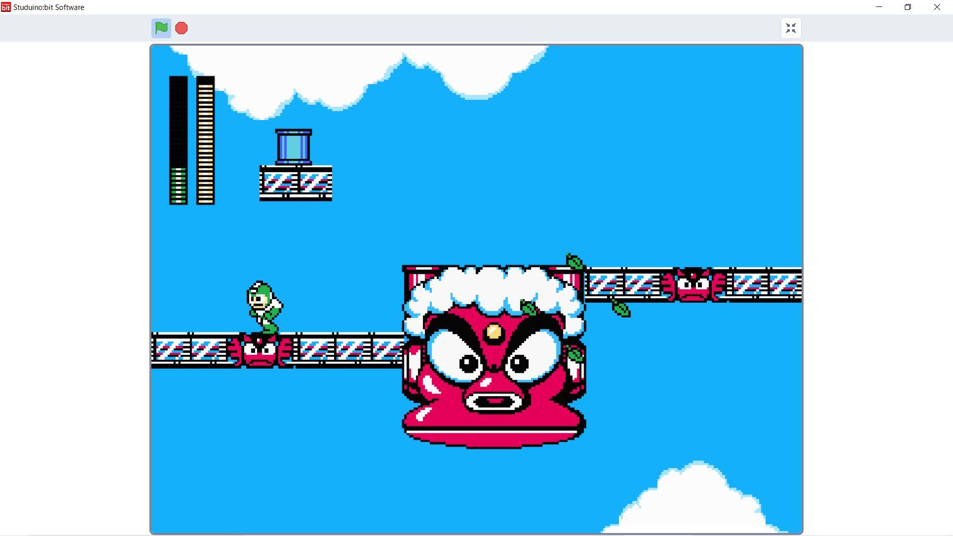 ステージ8のサンプルゲームを実行したところ。より本格的なゲームがプレイできる。「リーフシールド」を使うと、ロックマンの色が緑色に変わる