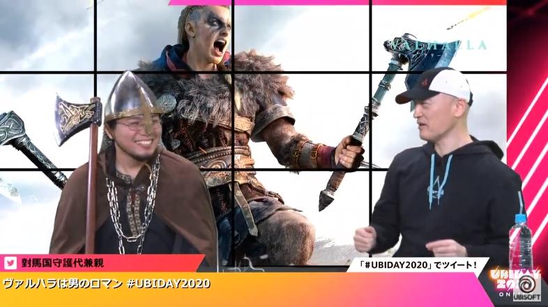 ヴァイキングの衣装を纏って登壇した「ヴィンランド・サガ」の作者、幸村 誠氏(左)とユービーアイソフトのマーケティングディレクター 辻良尚氏(右)