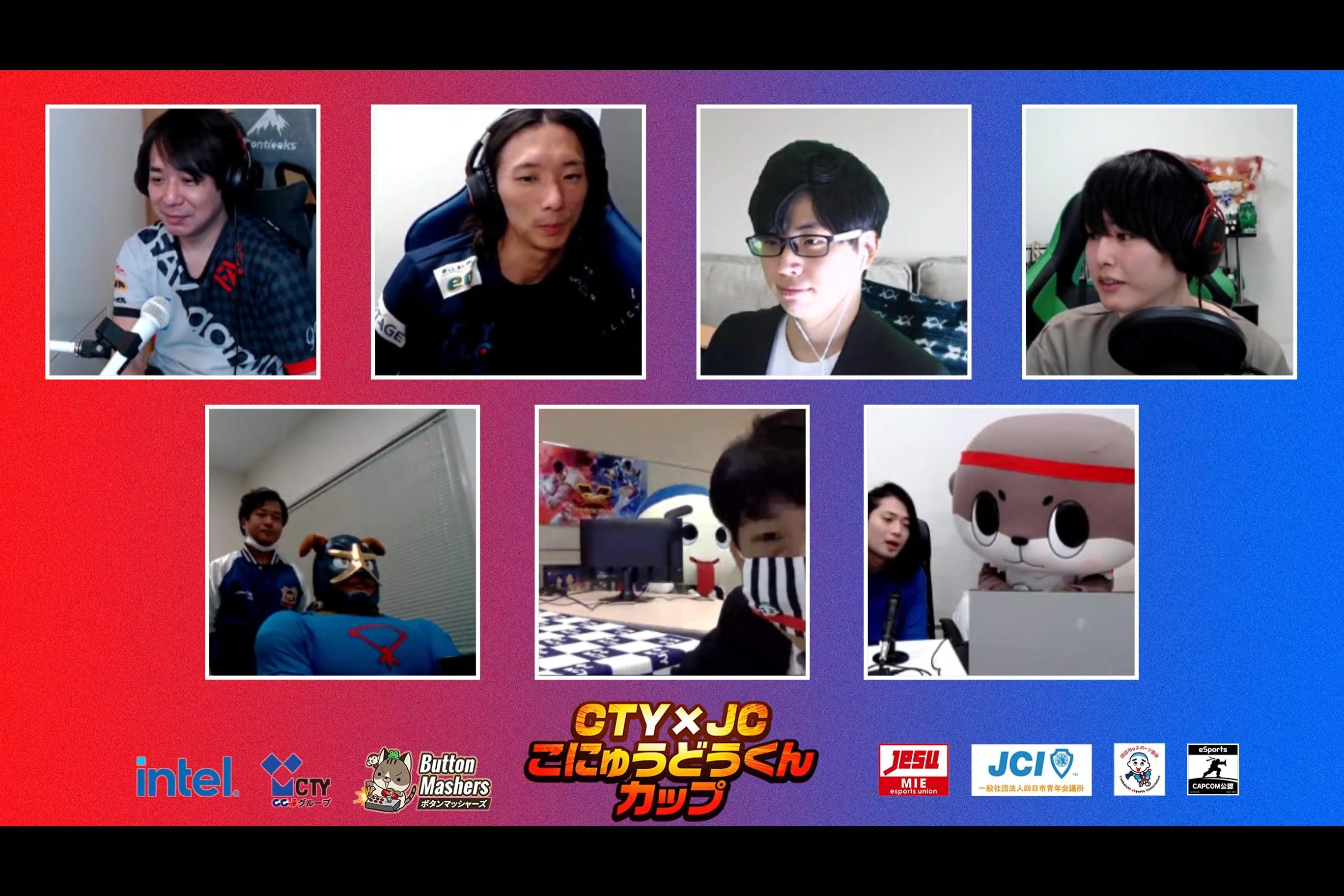 (上段左から)Sako選手、どぐら選手、ササ氏、なない氏、(下段左から)イヌナキン、こにゅうどうくん、しんじょう君