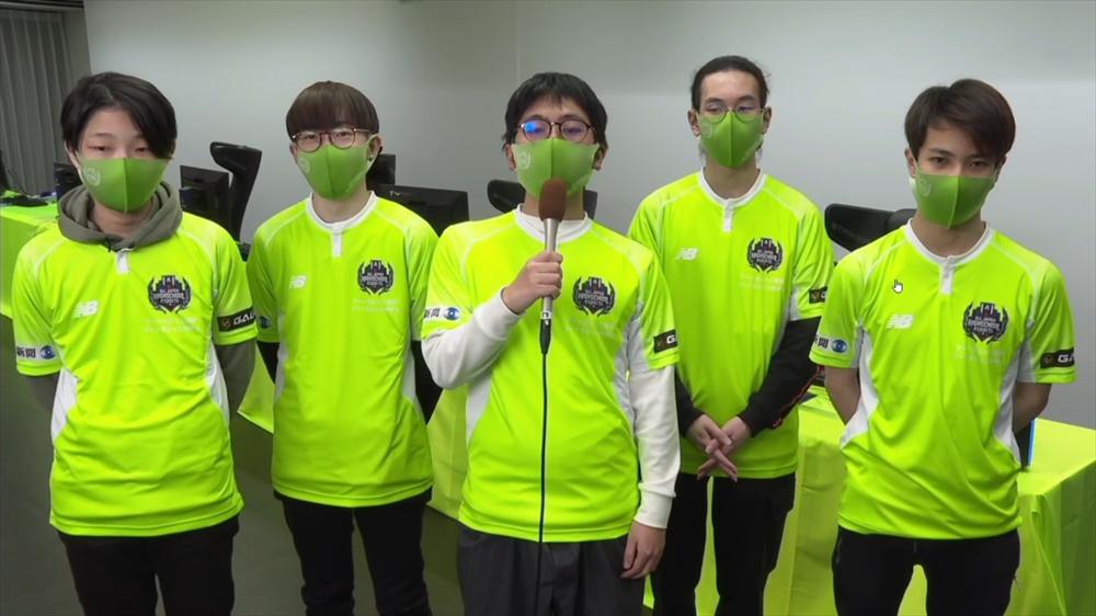 アートカレッジ神戸「アートカレッジ神戸A」のメンバー。左からmetamonn選手(TOP)、Kensou124選手(MID)、から揚げ選手(JG)、イルミん選手(SUP)、kaeto選手(ADC)