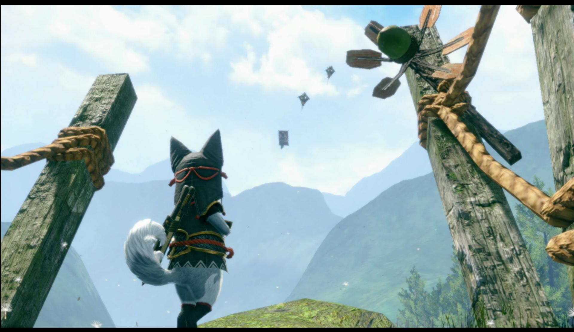 「オトモ隠密隊」ではオトモを各フィールドへ送りだしてアイテムを収集してきて貰う事ができる。凧に乗って思いっきり飛ばされているが目的地にちゃんと着けるのだろうか……?