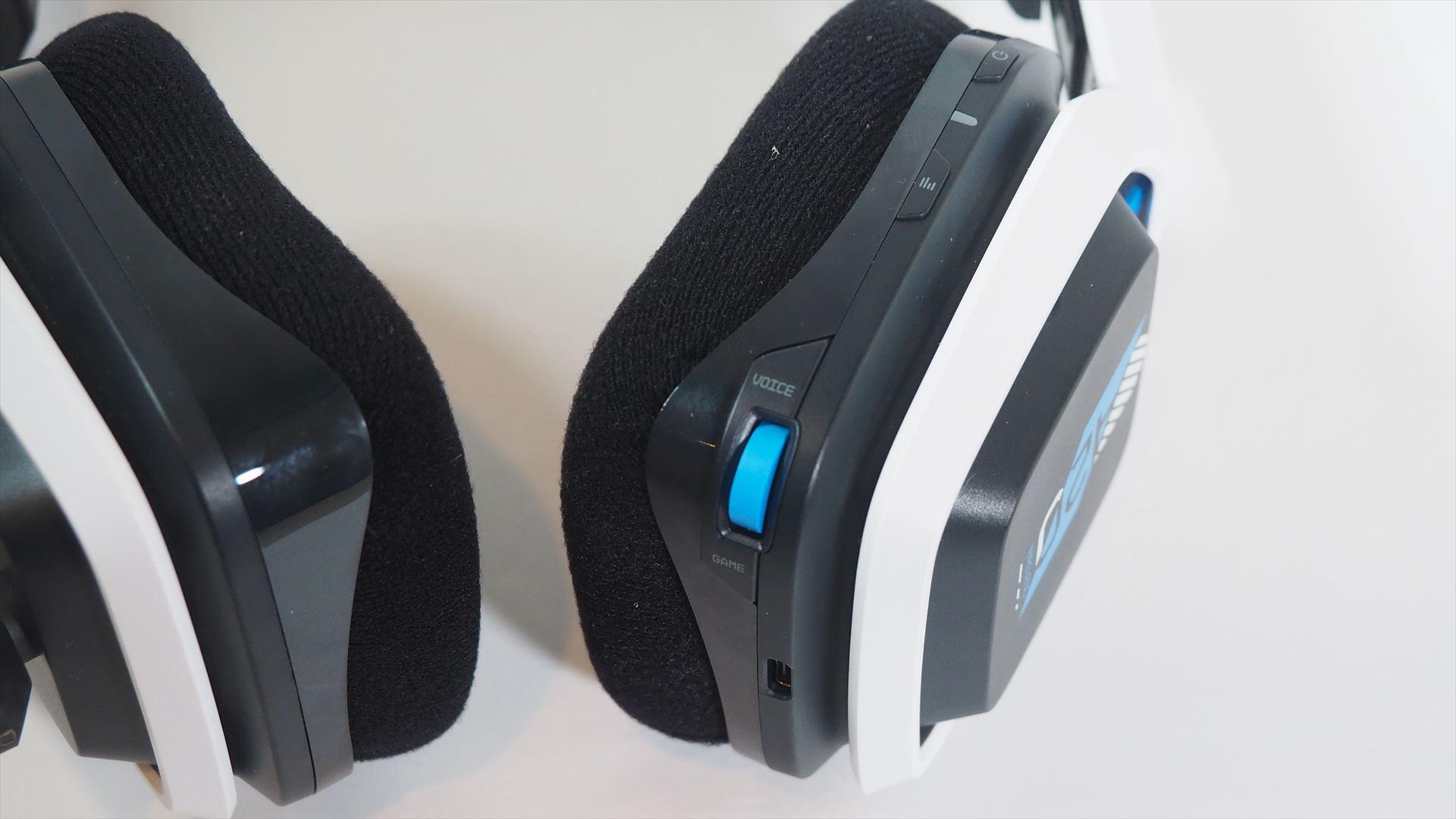 右のイヤーパッド部分には、音量バランス調整つまみと音質を切り替えるEQボタン、電源ボタンが用意されている