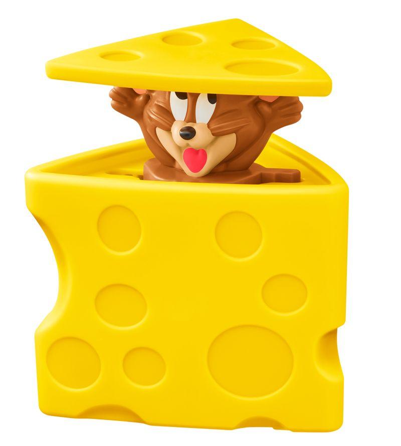 チーズの中にジェリーが隠れているおもちゃ。おもちゃの横を持って動かすと、ジェリーの顔がチーズから出たり入ったりする