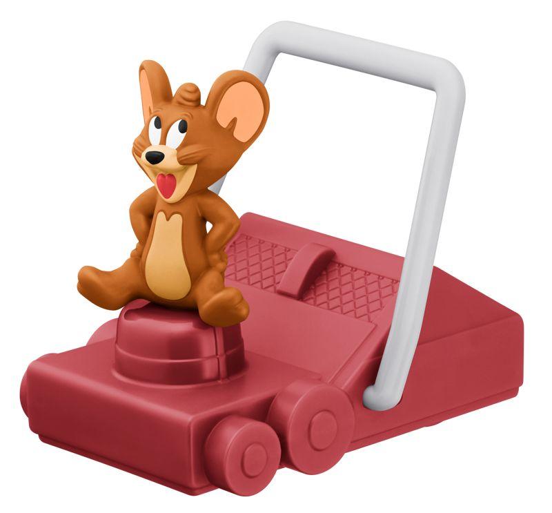 芝刈り機でトムにいたずらをするジェリーのおもちゃ。おもちゃを前に動かすと、後ろにあるトムと芝生の絵が動く