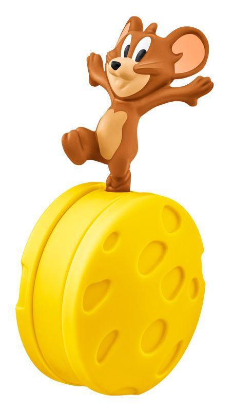チーズで玉乗りして遊ぶジェリーのおもちゃ。立てたまま転がすと、ジェリーが落ちることなく前に進む